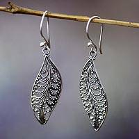 Sterling silver dangle earrings, 'Plumeria leaf' - Unique Sterling Silver Dangle Earrings