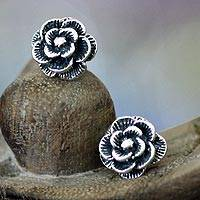 Sterling silver flower earrings, 'Balinese Rose'