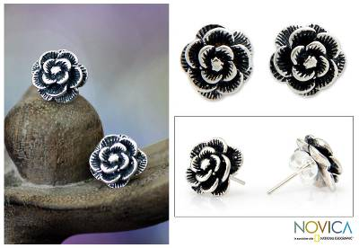 Sterling silver flower earrings, 'Balinese Rose' - Sterling Silver Flower Earrings