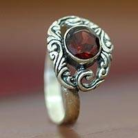 Garnet solitaire ring, 'Princess of Celuk' - Garnet and Silver Solitaire Ring