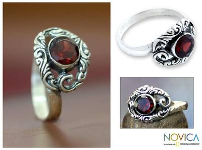 Garnet and Silver Solitaire Ring