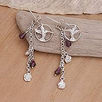 Garnet flower earrings, 'Hummingbird Song' - Garnet flower earrings