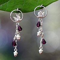 Garnet dangle earrings, 'Squirrel Symphony'
