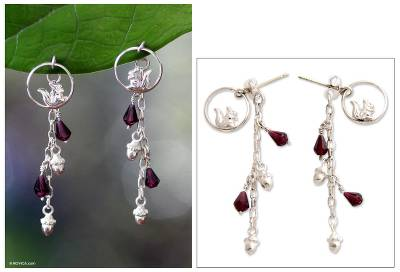 Garnet dangle earrings, 'Squirrel Symphony' - Garnet dangle earrings