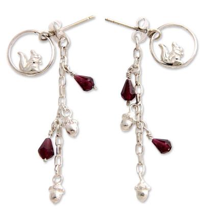 Garnet dangle earrings, 'Squirrel Symphony' - Garnet dangle earrings