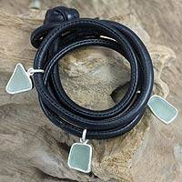 Men's sterling silver and leather bracelet, 'Ocean Story' - Men's Bracelet in Leather and Sea Glass