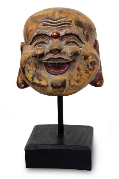 Wood sculpture, 'Antiqued Laughing Buddha' - Wood sculpture