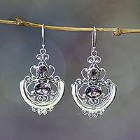 Amethyst dangle earrings, 'Balinese Goddess'