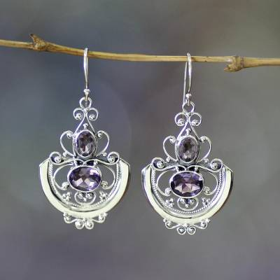 Amethyst dangle earrings, 'Balinese Goddess' - Sterling Silver and Amethyst Dangle Earrings