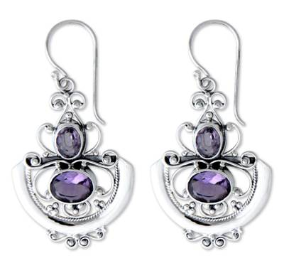 Amethyst dangle earrings, 'Balinese Goddess' - Sterling Silver and Amethyst Dangle Earrings