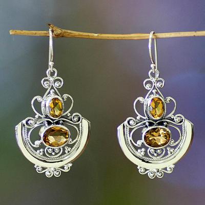 Citrine dangle earrings, 'Balinese Goddess' - Fair Trade Sterling Silver and Citrine Dangle Earrings