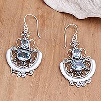 Blue topaz dangle earrings, 'Balinese Goddess'