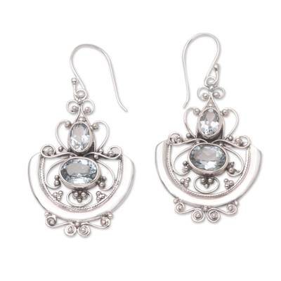 Blue topaz dangle earrings, 'Balinese Goddess' - Handcrafted Blue Topaz and Silver Dangle Earrings