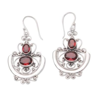 Garnet dangle earrings, 'Balinese Goddess' - Sterling Silver and Garnet Dangle Earrings