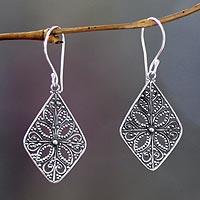 Sterling silver dangle earrings, 'Four Petals'