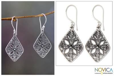 Sterling silver dangle earrings, 'Four Petals' - Floral Sterling Silver Dangle Earrings