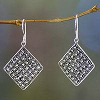 Sterling silver dangle earrings, 'Flower Lattice' - Sterling silver dangle earrings