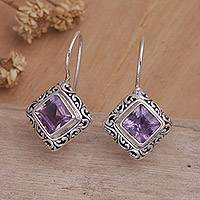 Amethyst drop earrings, 'Ubud Goddess' - Unique Sterling Silver and Amethyst Drop Earrings