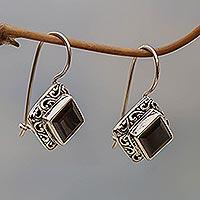 Garnet drop earrings, 'Ubud Goddess' - Sterling Silver and Garnet Drop Earrings