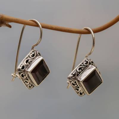 Garnet drop earrings, 'Ubud Goddess' - Sterling Silver and Garnet Drop Earrings