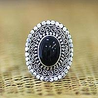 Onyx cocktail ring, 'Majesty Halo'