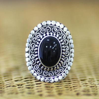 Sterling Silver and Onyx Cocktail Ring