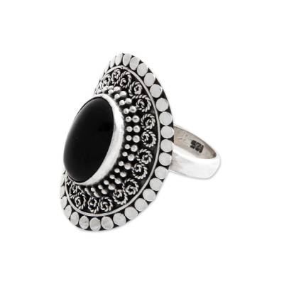 Onyx cocktail ring, 'Majesty Halo' - Sterling Silver and Onyx Cocktail Ring