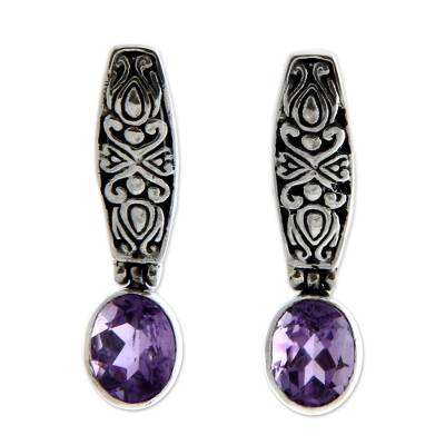 Amethyst drop earrings, 'Pura Dalem' - Sterling Silver and Amethyst Drop Earrings
