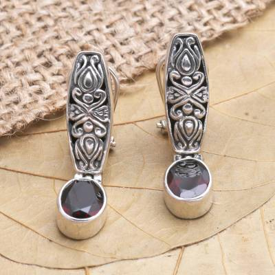 Garnet drop earrings, 'Pura Dalem' - Garnet and Silver Drop Earrings