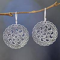 Sterling silver dangle earrings, 'Filigree Chrysanthemum' - Hand Crafted Sterling Silver Dangle Earrings