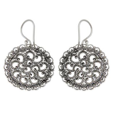 Sterling silver dangle earrings, 'Filigree Chrysanthemum' - Hand Crafted Sterling Silver Dangle Earrings