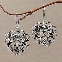 Sterling silver dangle earrings, 'Valentine Vine' - Hand Made Sterling Silver Heart Earrings