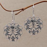 Sterling silver dangle earrings, 'Valentine Vine' - Hand Made Sterling Silver Heart Earrings