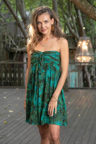 Batik dress, 'Java Emerald' - Unique Batik Patterned Strapless Dress