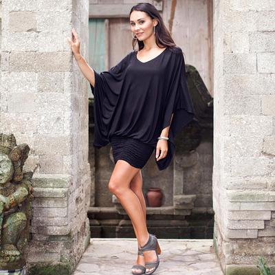 Jersey tunic, 'Midnight Butterfly' - Women's Jersey Knit Tunic Top