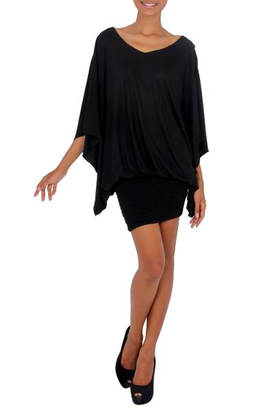 Jersey tunic, 'Midnight Butterfly' - Women's Jersey Knit Tunic Top
