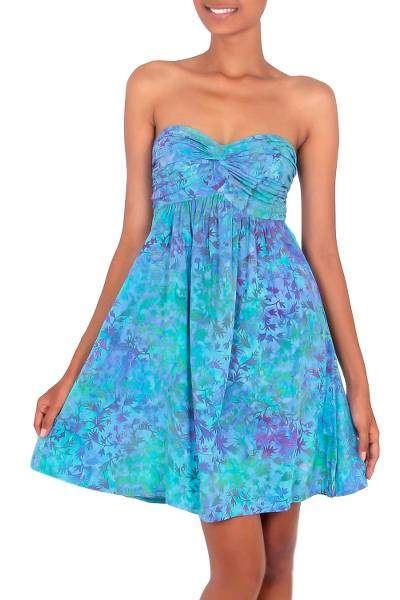 Batik dress, 'Java Twilight' - Batik Patterned Empire Waist Dress
