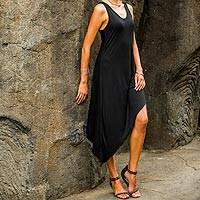 Jersey dress, 'Bold Black' - Black Rayon Jersey Scoop Neck Dress with Asymmetrical Hemlin