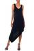 Jersey dress, 'Bold Black' - Jersey Knit Asymmetrical Dress thumbail