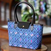 Cotton batik shoulder bag, 'Blue Indramayu' - Cotton batik shoulder bag