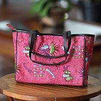 Cotton batik tote bag, 'Indramayu Rose' - Cotton batik tote bag