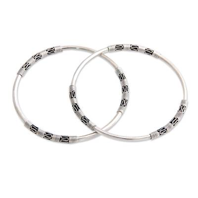 Artisan Crafted Sterling Silver Bangle Bracelets (Pair)