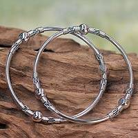 Sterling silver bangle bracelets, 'Ubud Moons' (pair)
