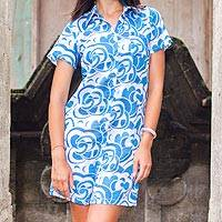 Cotton long shirt, 'Balinese Shadow' - Unique Batik Cotton Patterned Long Shirt / Mini Dress