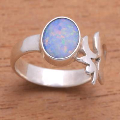 Opal cocktail ring, 'Hindu Meditation' - Unique Opal and Sterling Silver Ring