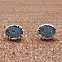 Opal button earrings, 'Sweet Duchess' - Handcrafted Opal Button Earrings