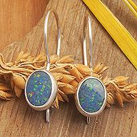 Opal drop earrings, 'Java Sea' - Opal and Sterling Silver Drop Earrings