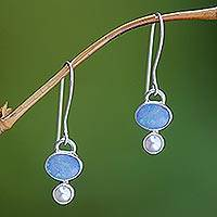 Opal and pearl dangle earrings, 'Karma'
