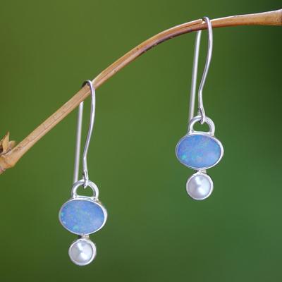Opal and pearl dangle earrings, 'Karma' - Handcrafted Opal and Pearl Dangle Earrings