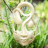 Wood mask, 'Introspection' - Handcrafted Carved Hibiscus Wood Mask